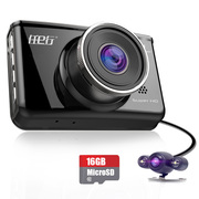 任e行 D5 双镜头行车记录仪1080P高清广角夜视 (内含16G TF卡)黑色版
