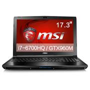 微星  GL72 6QF-404XCN 17.3英寸游戏笔记本电脑(i7-6700HQ 8G 1T GTX960M GDDR5 2G)黑色
