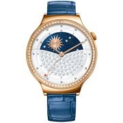 华为 WATCH 星月系列 智能手表 (施华洛世奇人造宝石 蓝色鳄鱼纹牛皮表带) 玫瑰金