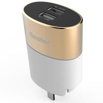倍斯特 5V/2.1A双USB输出 移动电源/手机充电器/适配器/充电头 苹果/安卓/平板通用 香槟金产品图片主图