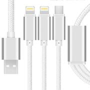 Capshi SHY-01 一拖三充电线 苹果接口数据线 Lightning/Mirco安卓两用 尼龙1米 银色