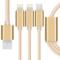 Capshi SHY-01 一拖三充电线 苹果接口数据线 Lightning/Mirco安卓两用 尼龙1米 金色产品图片1