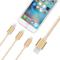 Capshi SHY-01 一拖三充电线 苹果接口数据线 Lightning/Mirco安卓两用 尼龙1米 金色产品图片4
