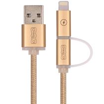 哥特斯 M9 编织二合一数据线 手机充电线 1米 金色 适用于苹果iPhone6s/Plus iPad Air Pro Mini 安卓 产品图片主图