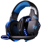 因卓 G2000 电脑游戏耳机 重低音带麦克风话筒笔记本台式头戴式耳麦  黑蓝色