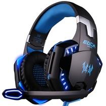 因卓 G2000 电脑游戏耳机 重低音带麦克风话筒笔记本台式头戴式耳麦  黑蓝色产品图片主图