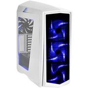 银欣 PM01 锋驰1 白色蓝光侧透机箱 (可调四段LED风扇/支持水冷/长显卡)
