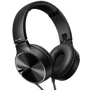 先锋 SE-MJ722T -K 重低音头戴式便携折叠手机通话耳机 黑色