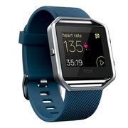 Fitbit Blaze智能健身手表 GPS全球定位 心率实时检测 多项运动模式 手机音乐操控 来电提醒 蓝色 大号