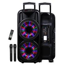 新科 S20 双12寸广场舞音响户外蓝牙音箱 插卡彩灯拉杆音箱带麦克风(黑色)产品图片主图