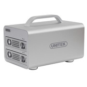 优越者 Y-3372SL 全铝高速USB3.0+eSATA手提式双盘位磁盘阵列柜盒 3.5英寸硬盘盒RAID存储柜银色