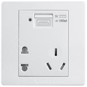 公牛 五孔带USB接口插座 墙壁开关插座86型面板G07E335