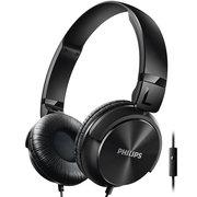 飞利浦 SHL3065BK 头带封闭式 轻巧平折耳机 时尚出街 线控式麦克风通话(黑色)