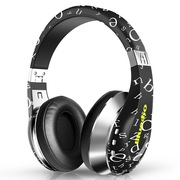 蓝弦 A 时尚韧性音乐蓝牙耳机 蓝牙4.1 无线发烧HIFI耳麦 通用型 头戴式 字母黑