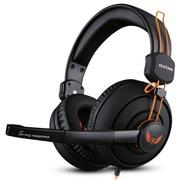 欧凡  X7 头戴式专业游戏电脑耳机 舒适大耳罩语音带麦克风话筒 黑橙色
