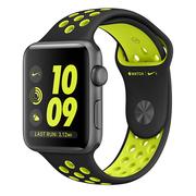 苹果 Apple Watch Nike+ 深空灰色铝金属表壳搭配黑配荧光黄色 Nike 运动表带 42毫米