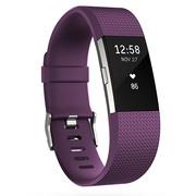 Fitbit Charge 2智能时尚心率手环 心率实时监测 自动睡眠记录 来电显示 VO2Max测量 紫色大号