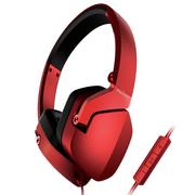先锋 MJ101-R 便携折叠头戴式线控通话手机耳机 红
