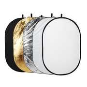 天气不错 五合一椭圆形反光板/档光板 金色/银色 摄影摄像反光板 60x90cm