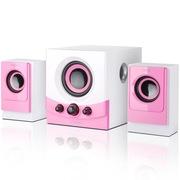 恩科 E600 有源多媒体电脑2.1音响音箱木质低音炮 粉红色