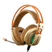 西伯利亚 V10 USB头戴式发光带麦克风电脑电竞游戏耳机 金色