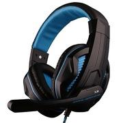 欧凡 X2 头戴式专业游戏电脑耳机耳麦 语音带麦克风话筒双插头 黑蓝色