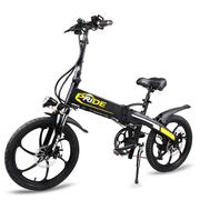 普莱德 折叠电动自行车电动滑板车小型代步单车48v山地车助力车代驾车男女通用 至尊版一体轮20寸48V 哑光黑