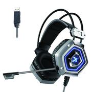 西伯利亚 X13 头戴式 电脑耳麦 发光 电竞游戏耳机 铁灰色