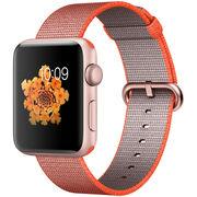 苹果 Watch Sport Series 2智能手表(42毫米玫瑰金色铝金属表壳搭配亮橙配灰色精织尼龙表带 MNPM2CH/A)