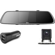 360 行车记录仪后视镜版 M302 高清夜视 前后双录 倒车影像 停车监控 wifi连接 天空灰