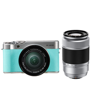 富士 X-A10 (XC16-50II/XC50-230II) 薄荷绿 微单电双镜头套机 小巧轻便 微距拍摄 180度翻折屏