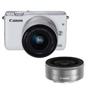 佳能 EOS M10微型单电双头套机 白色(变焦EF-M 15-45mm)& (定焦EF-M 22mm f/2 STM)