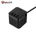 公牛  GN-U303H 魔方USB插座 插线板/插排/排插/接线板/拖线板 3USB接口+3插孔全长1.5米 黑色
