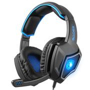 赛德斯 狼灵 头戴式7.1声道语音耳机 (黑蓝)电竞耳机 耳机头戴式 电脑手机耳机