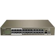 腾达 TEF1126P-24-250W 24口百兆智能PoE供电交换机 企业工程监控 网络分线器