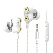 兰士顿 D2双动圈耳机入耳式 重低音运动耳机挂耳式 手机k歌电脑耳麦MP3通用耳塞式 HiFi降噪音乐耳机 白色