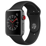 苹果 Watch Series 3智能手表(GPS+蜂窝网络款 42毫米 深空灰色铝金属表壳 黑色运动型表带 MQQT2CH/A)