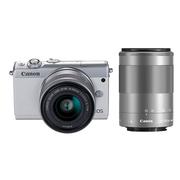 佳能 EOS M100 微型单电双头套机 白色 (EF-M 15-45mm )&(EF-M 55-200mm)