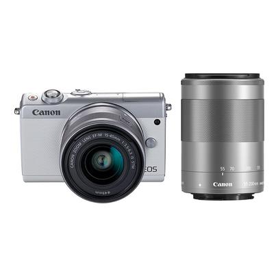 佳能 EOS M100 微型单电双头套机 白色 (EF-M 15-45mm )&(EF-M 55-200mm)产品图片1
