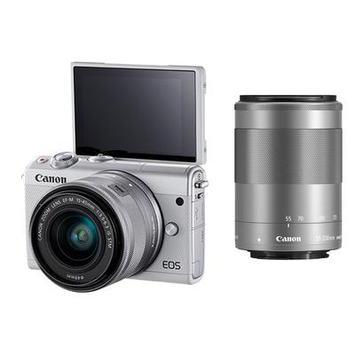 佳能 EOS M100 微型单电双头套机 白色 (EF-M 15-45mm )&(EF-M 55-200mm)产品图片2