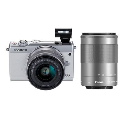佳能 EOS M100 微型单电双头套机 白色 (EF-M 15-45mm )&(EF-M 55-200mm)产品图片3