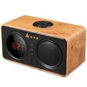 金河田 D30黄木纹 电脑音响无线蓝牙音箱手机插卡闹钟显示屏迷你低音炮木质