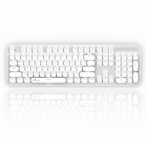 圆点 有线/蓝牙双模式 104键圆形键帽银色机械键盘 红轴 白色背光产品图片主图