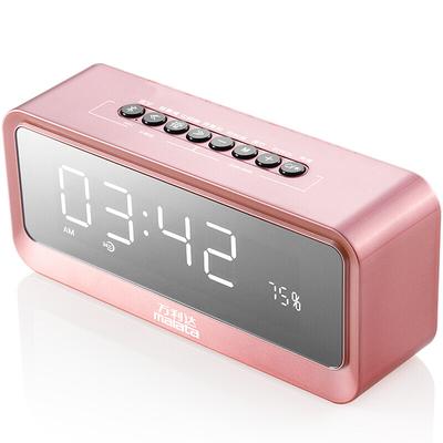 万利达 音响蓝牙音箱插卡低音炮手机桌面闹钟迷你镜面音响 S66玫瑰金产品图片2
