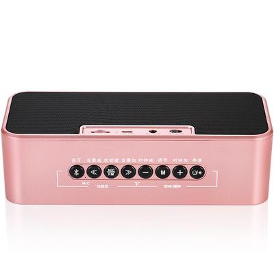 万利达 音响蓝牙音箱插卡低音炮手机桌面闹钟迷你镜面音响 S66玫瑰金产品图片4