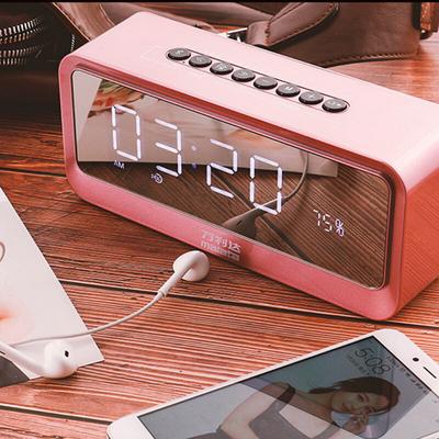 万利达 音响蓝牙音箱插卡低音炮手机桌面闹钟迷你镜面音响 S66玫瑰金产品图片5