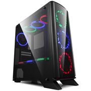 金河田 峥嵘R6黑 中塔式水冷游戏PC电脑主机箱(ATX/M-ATX/ITX/长显卡/U3/SSD/大侧透)