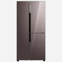 美的 408升 智能双变频风冷T型对开三门冰箱 玻璃面板 铂金净味 雷达感温 摩卡棕 BCD-408WKGPZM(E)产品图片主图